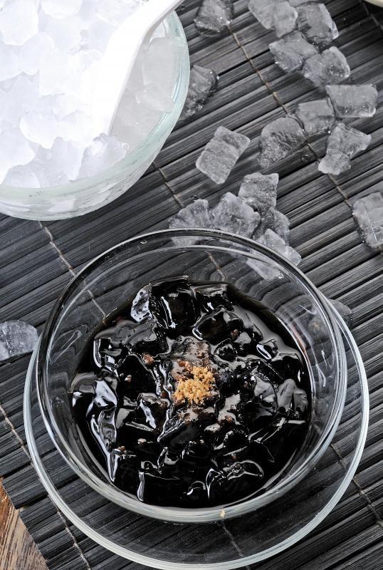Grass jelly is an ingredient in a well-known Indonesian drink called es teller.
