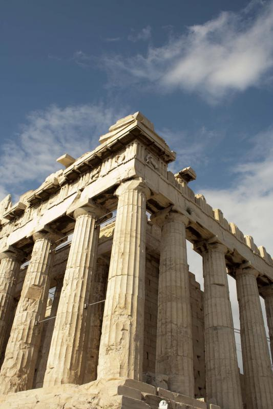 The Parthenon sits in Athens, Greece.