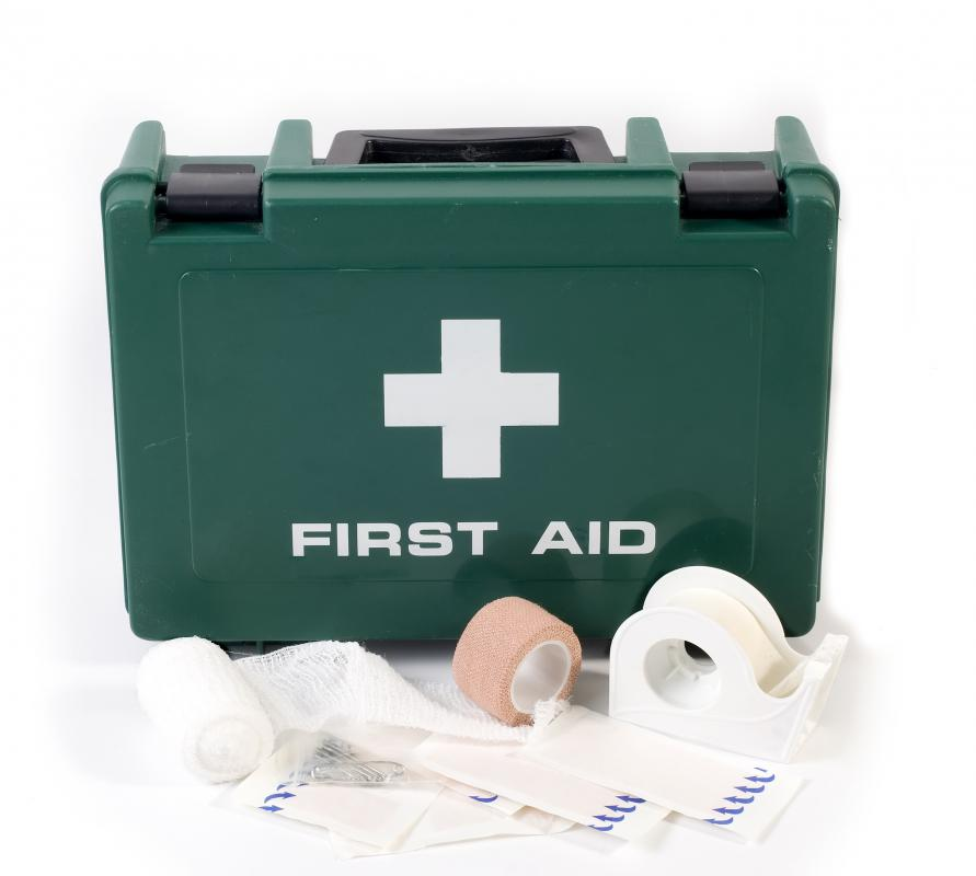 Putting together a first aid kit before a disaster occurs is recommended.