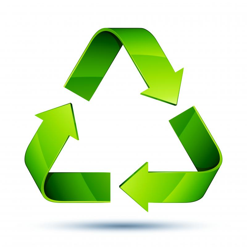 The recycling symbol should be on items used in a green workplace.