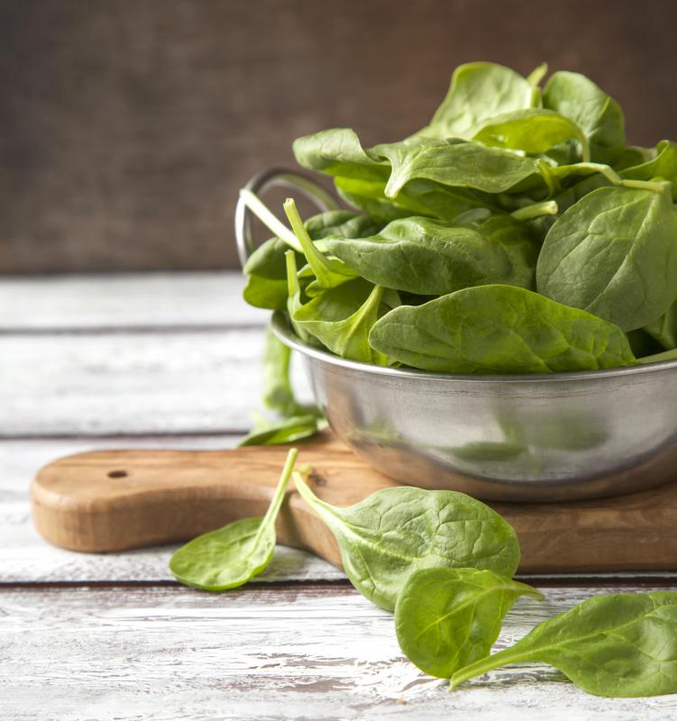 Spinach can be added to pasta to add color and flavor.