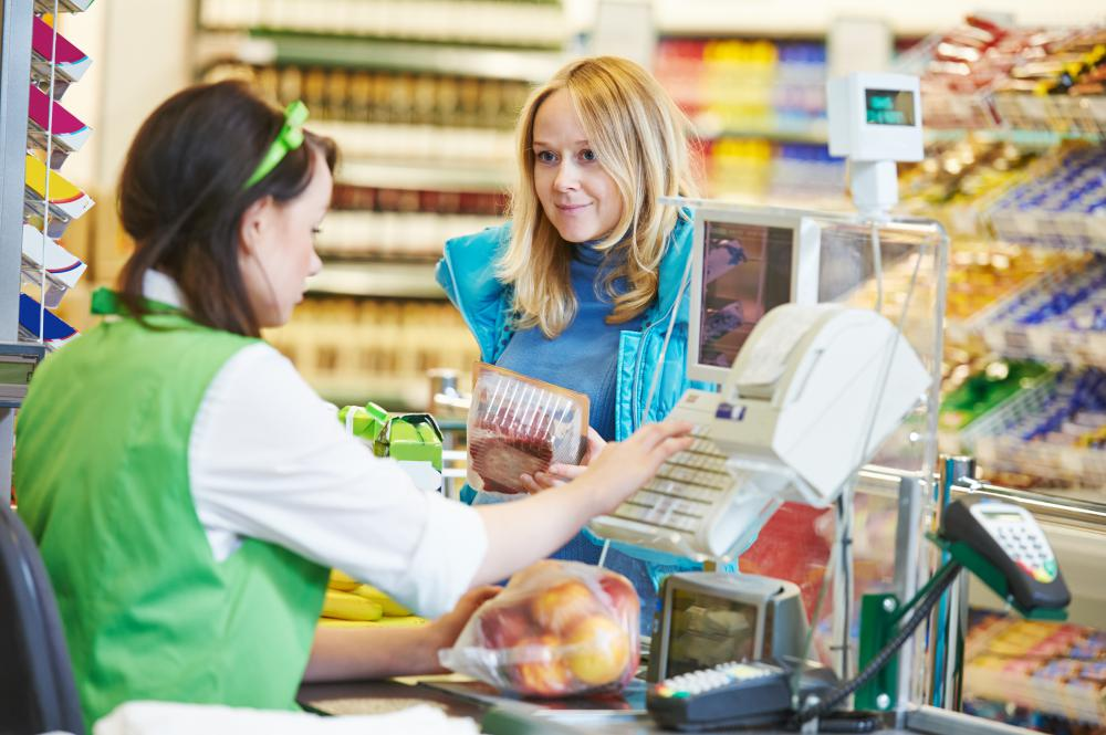 Point-of-sale terminals are used in grocery stores to accurately ring up customers' purchases.