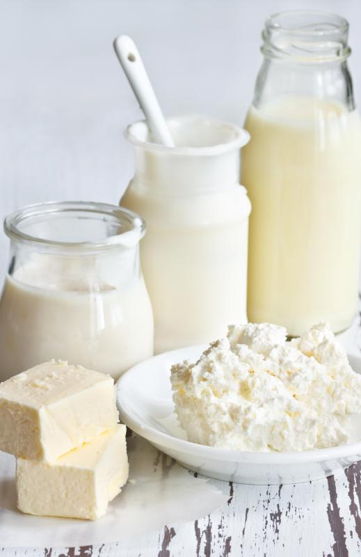 Milk by-products such as butter and cheese are also produced at dairy processing facilities.