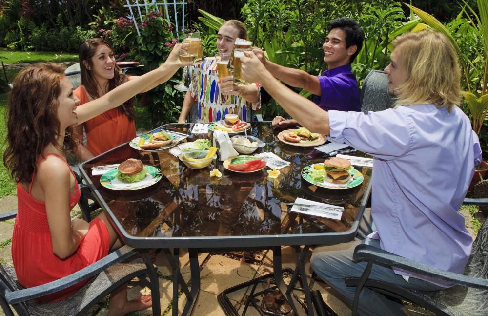People who enjoy dinner parties might host a potluck with friends who bring different food dishes.