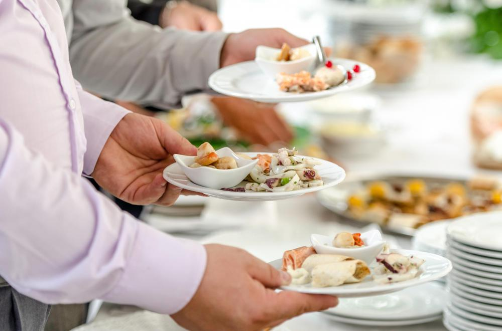A buffet may tempt people to overindulge on food.