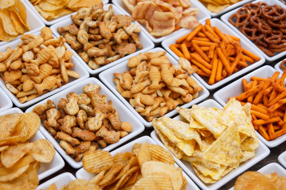Salty snack foods are unhealthy for most people due to the risk for hypertension.