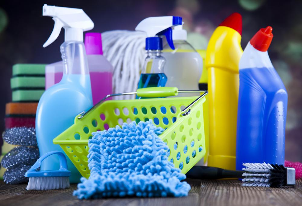 A variety of cleaning products contain disinfectant solutions.