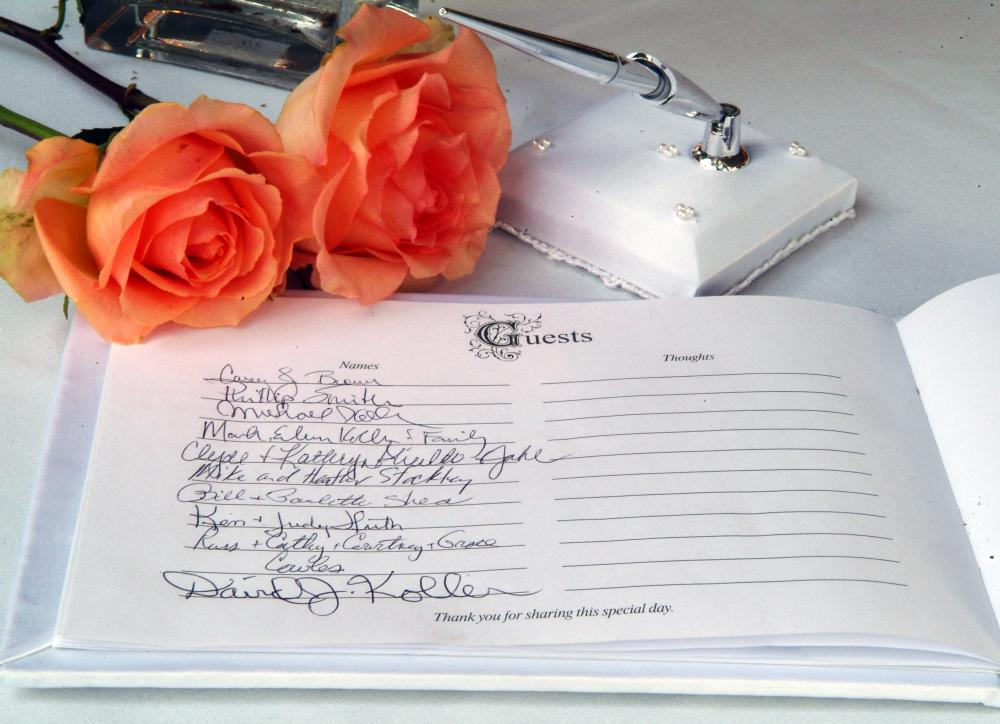 A guest book may be used at weddings to help couples remember all of the guests who shared their special day.