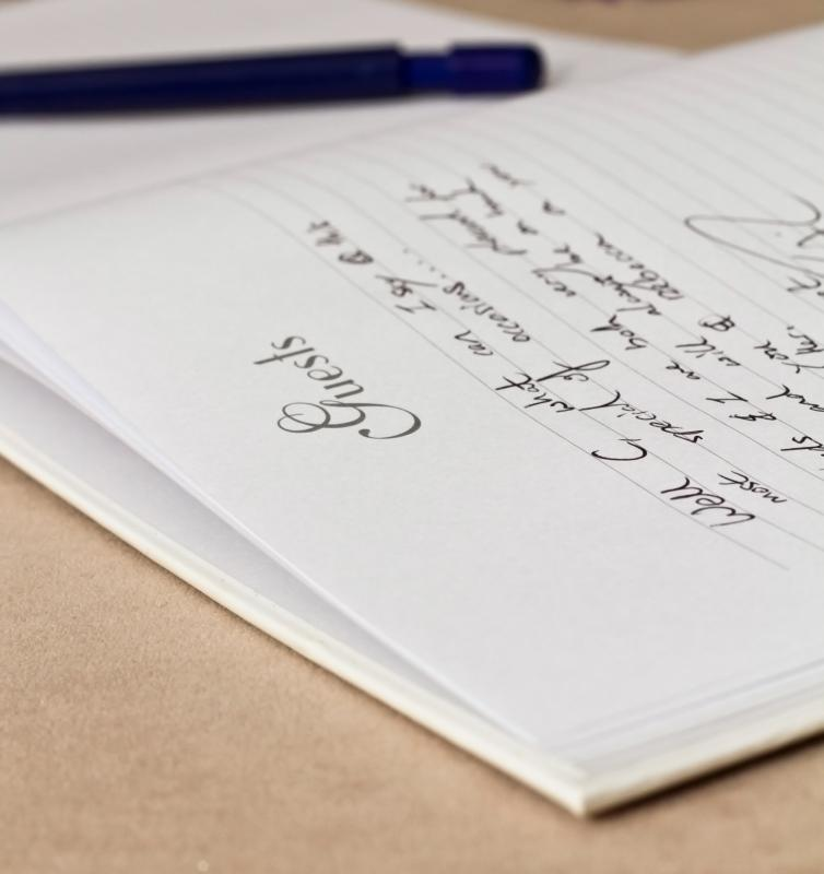 Guestbooks are traditionally used at formal occasions including weddings and funerals.