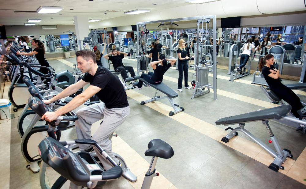 Cycling exercises can be done on a stationary bike at a gym, sometimes as part of a class.
