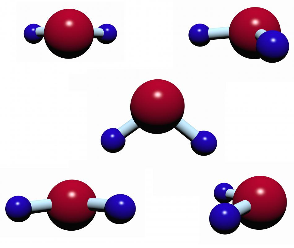 Heated water molecules create convention currents in boiling water.