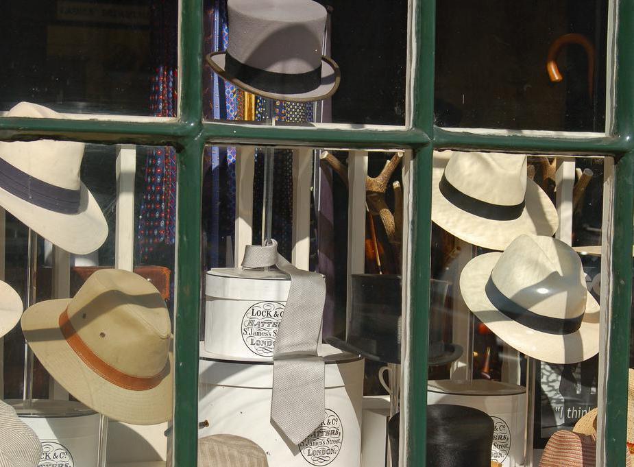 Haberdashery is an old term used to denote hat sales, among other items.