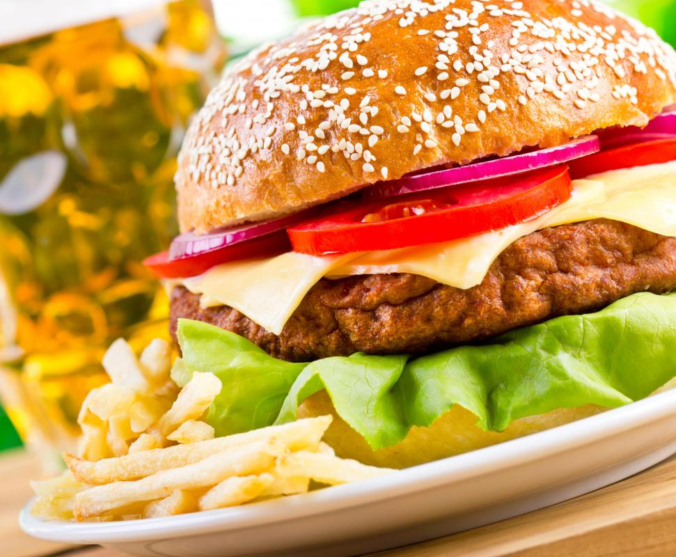 American hamburgers are found on many pub menus.