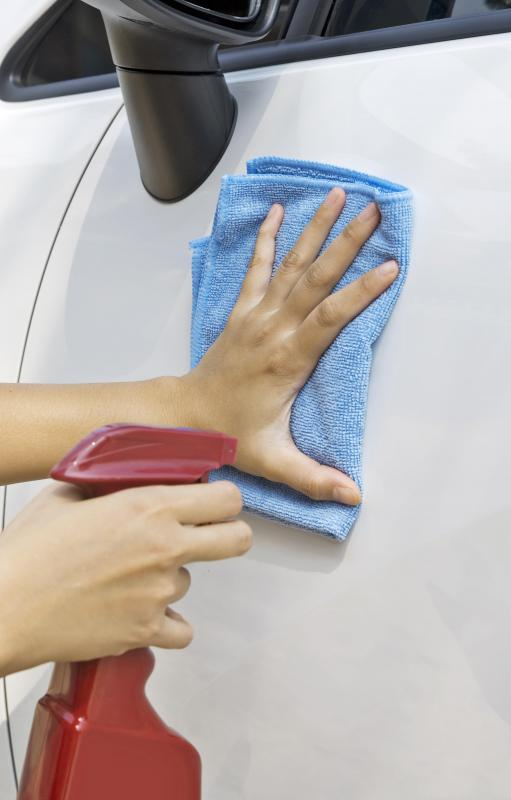 A waterless car wash may include waxing.