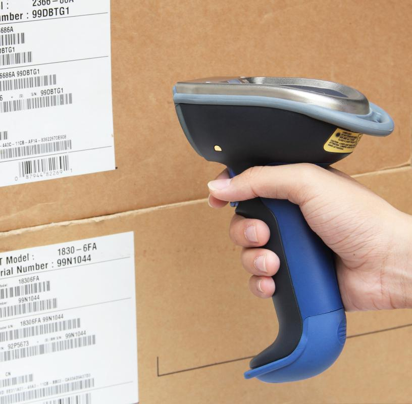 Keeping track of inventory with a laser barcode scanner.