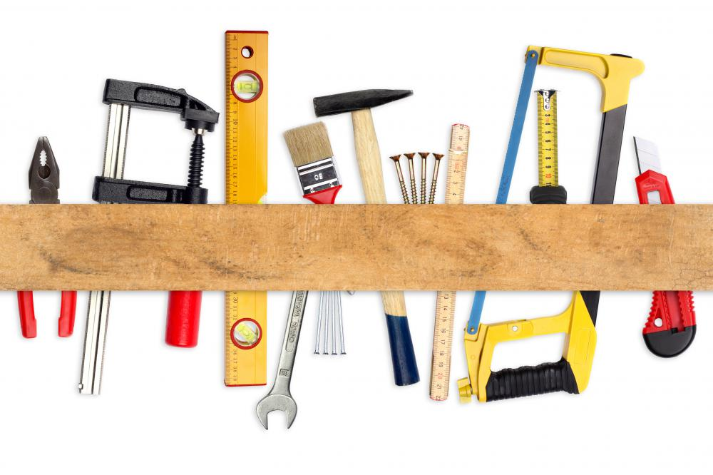 Common hand tools to have around the house are pliers, hand saws, levels, paint brushes and wrenches.