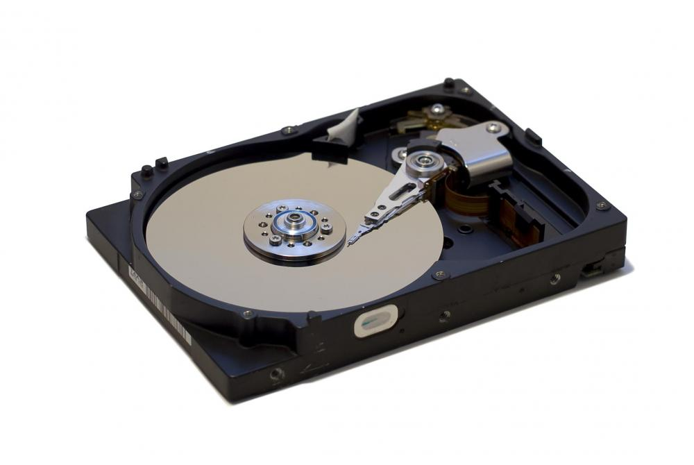 A hard disk drive can be used for mass data storage.