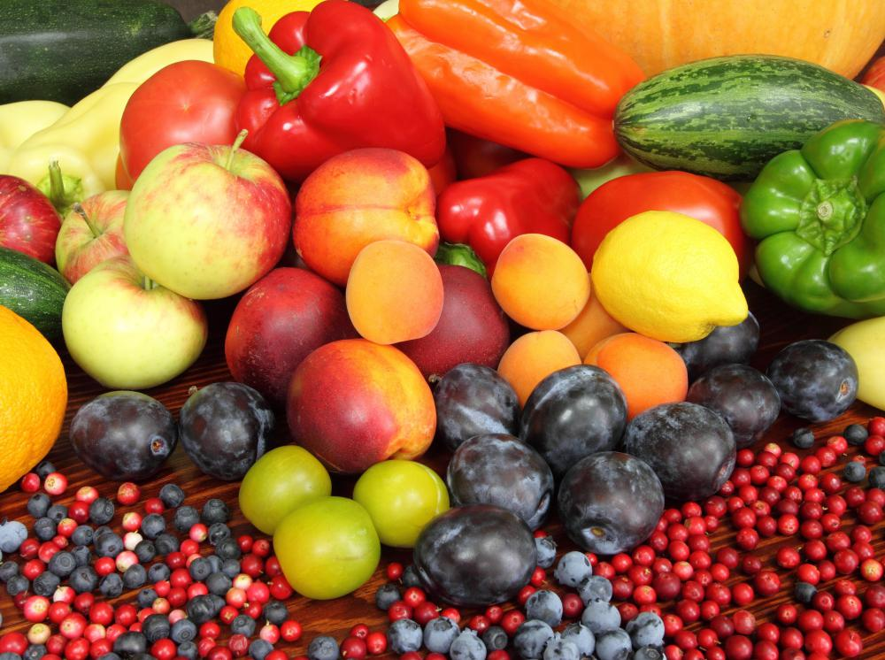 Anthocyanins and flavonoids provide the bright colors in certain fruits and vegetables.