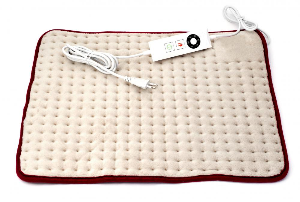 An electric heating pad features heating elements wrapped inside a quilted cloth with adjustable temperatures.