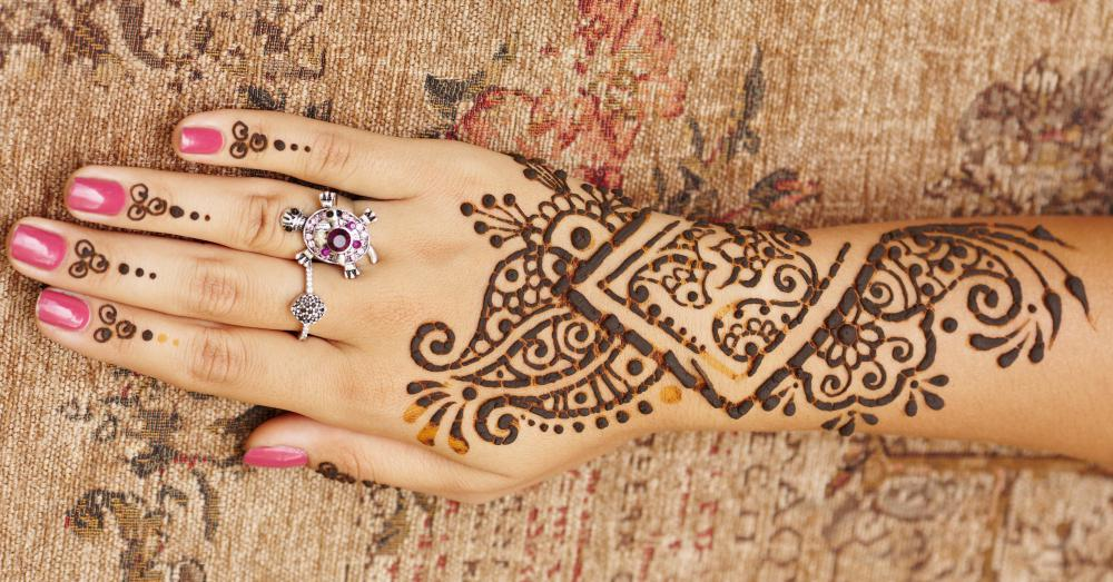 Mehndi tattoos are temporary designs made with dye from the henna plant.