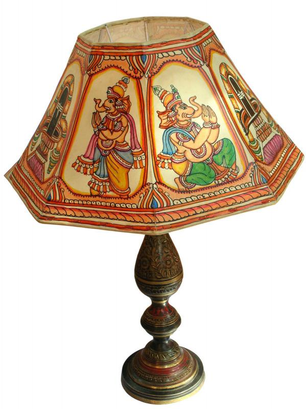 Decorated lampshades complement various living room styles.