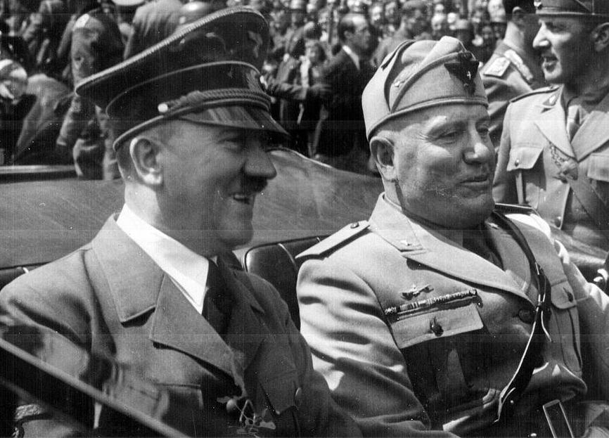 Mussolini and Hitler were on the same side in World War II, fighting against the US and the other Allies.