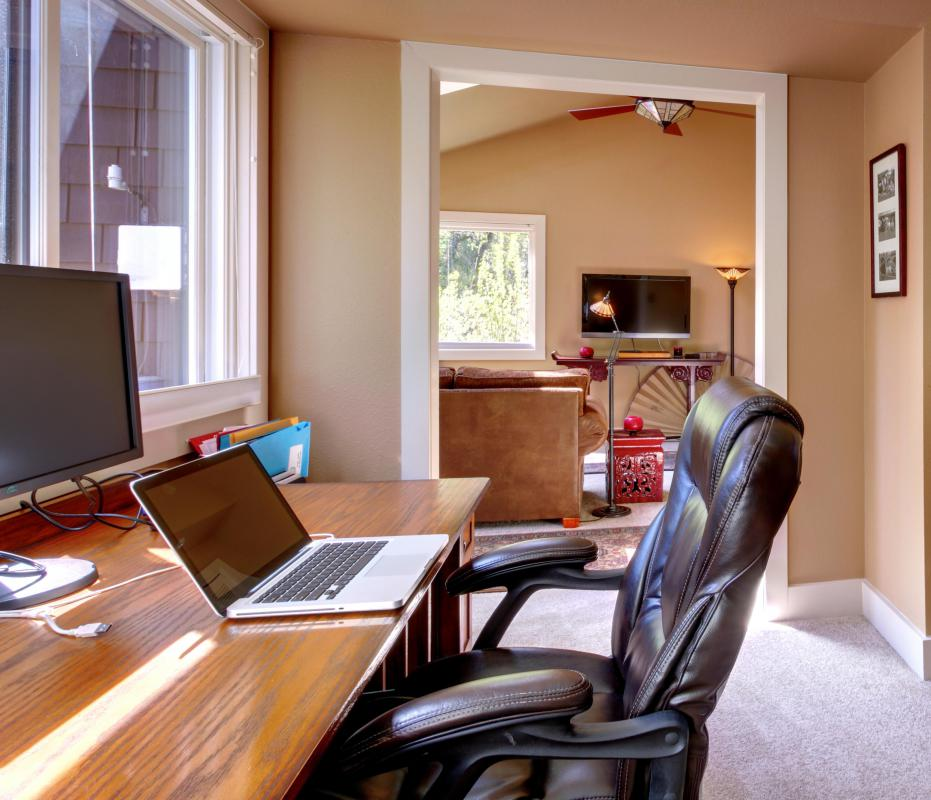 A desk and a computer are essential requirements for a home office.