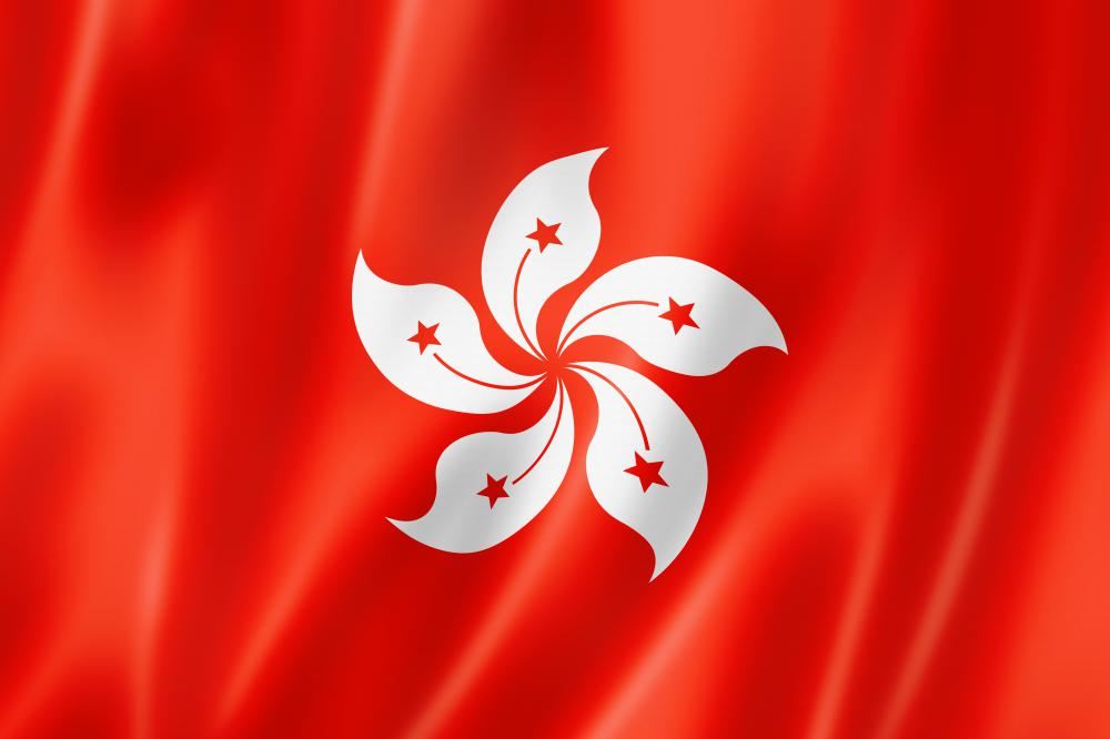 The flag of Hong Kong. Several of the world's tallest skyscrapers are found in Hong Kong.