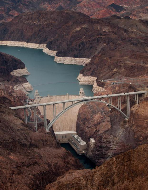 Hydroelectric power stations like the Hoover Dam create large up-river water basins.