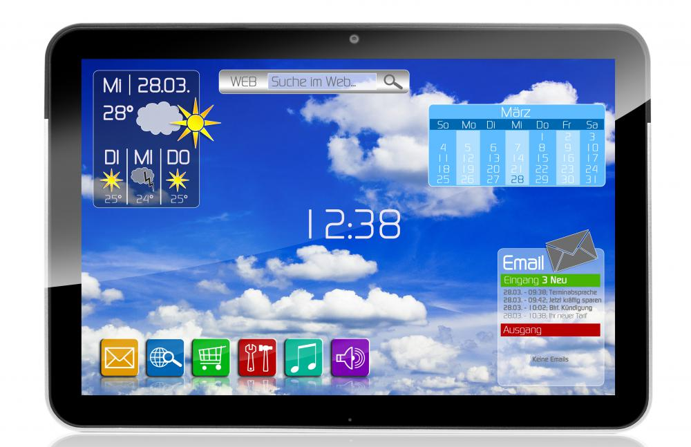 A tablet PC using 3G mobile broadband.