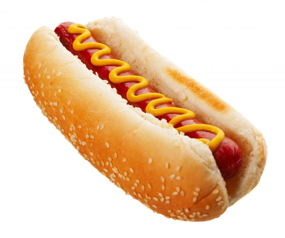 A soy hot dog with mustard.