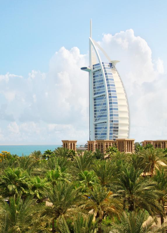 The Burj al Arab is an iconic hotel on the waterfront in Dubai.