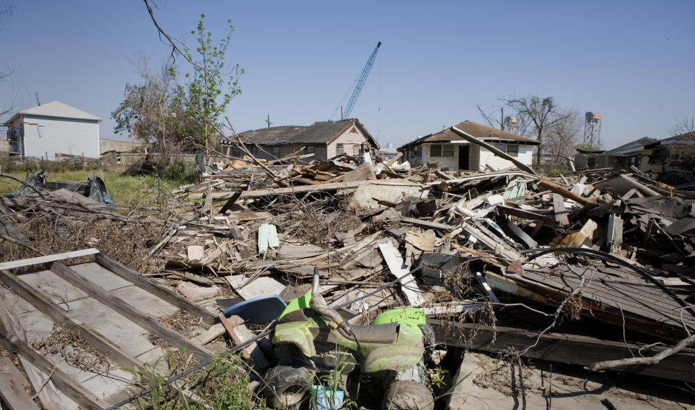Many homes in the Ninth Ward of New Orleans were destroyed during Hurricane Katrina, which was considered an act of nature.