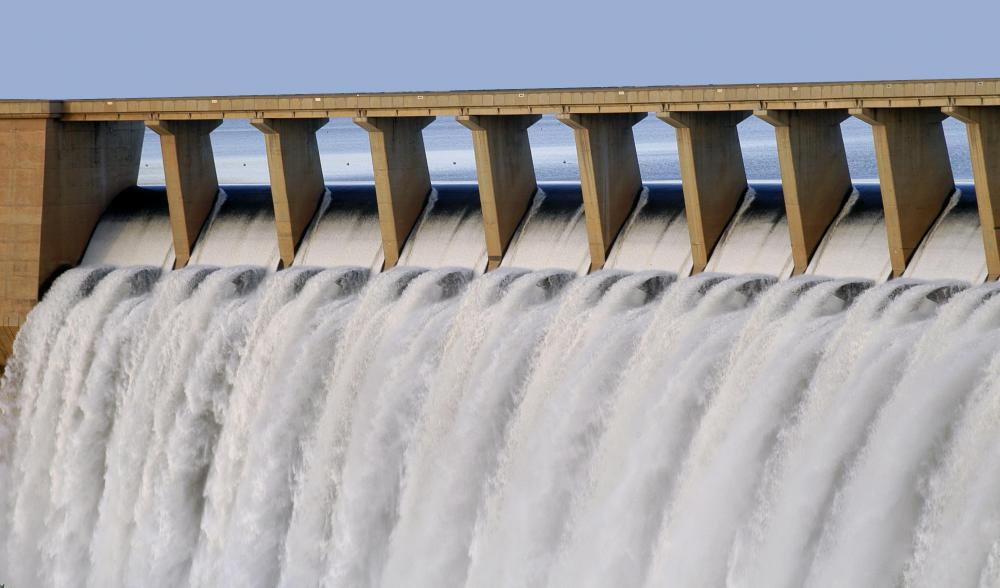 A hydropower dam designed by renewable energy engineers.