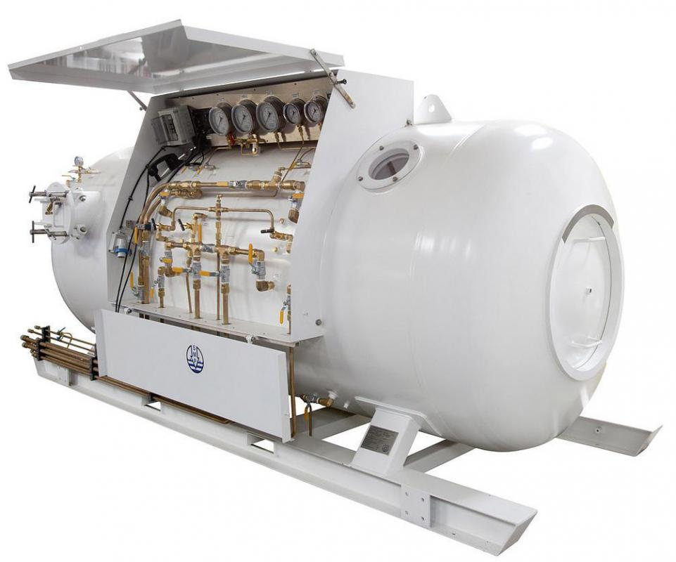 A hyperbaric chamber for high-oxygen environment.