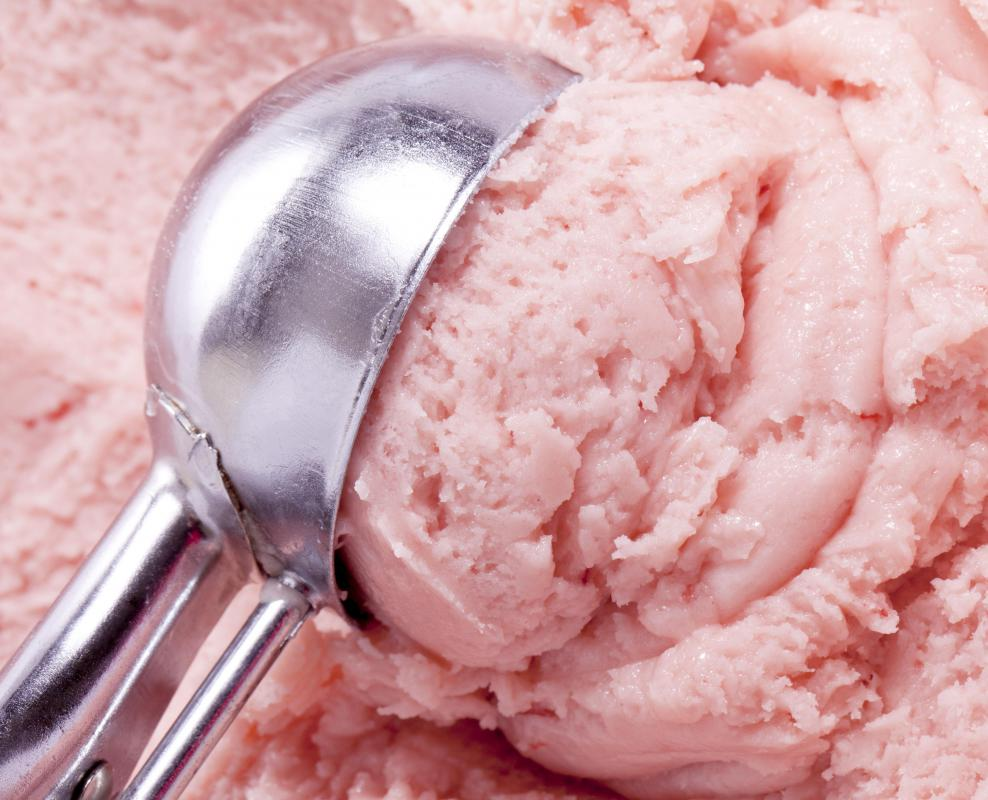 Hard ice cream is best served using a specially designed scoop.