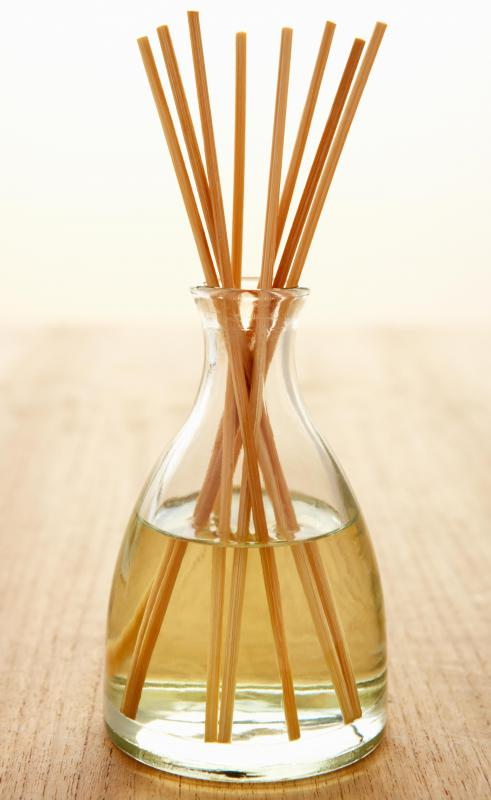 Aromatherapy oil is often wicked upward through diffuser sticks.