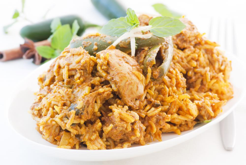 Biryani is a popular Indian dish made with meat, rice, vegetables and spices.
