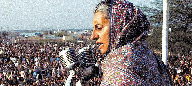 Indira Ghandi addresses a crowd.