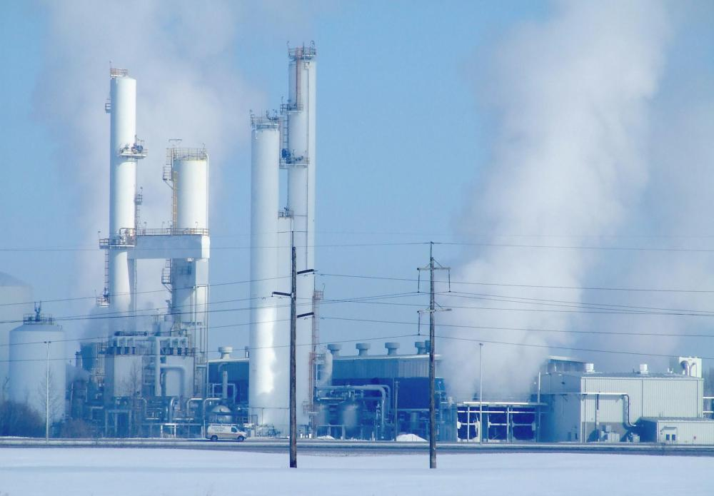 Two types of acid gas found in industrial emissions are nitrogen oxides and sulfur dioxide.
