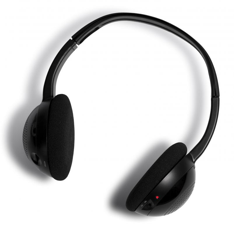 Infrared headphones may be used to listen to music cordlessly.