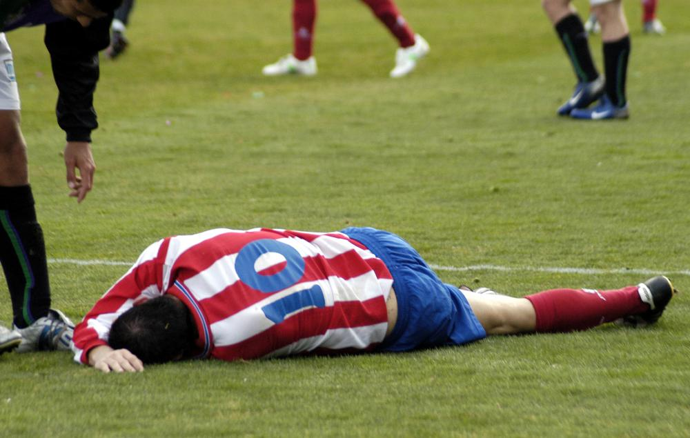 A sprained wrist is possible in soccer when players routinely fall or are pushed to the ground.
