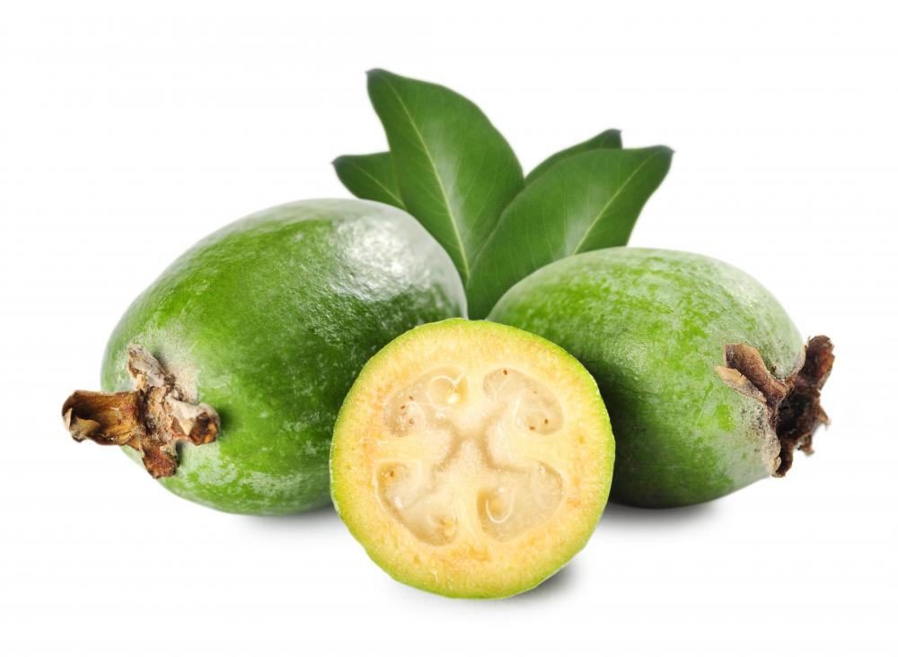 The pulp of a guava is pale yellow to pink depending on the variety.