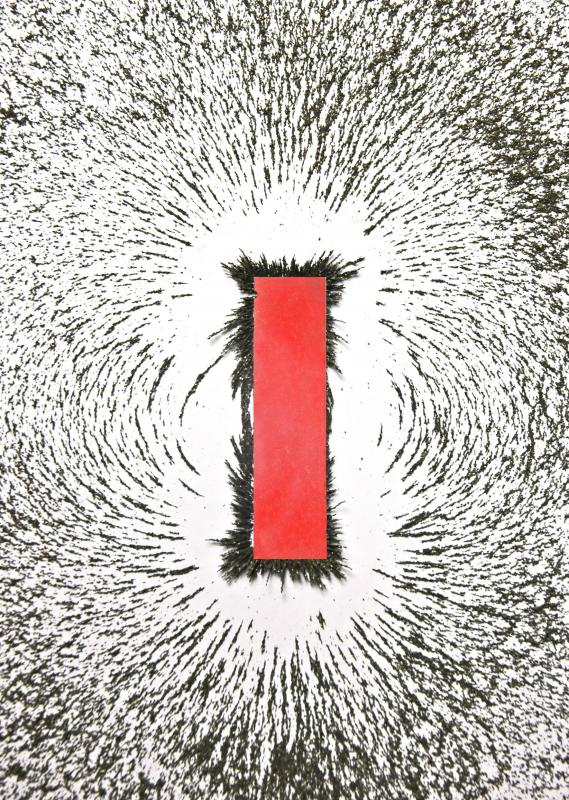 The way iron filings arrange themselves around a magnet clearly shows the north-south flow of a magnetic field.