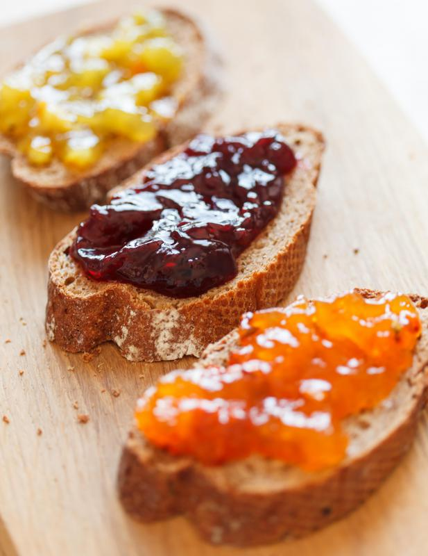 Jam on toasted baguettes.