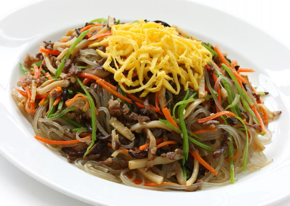 Bean thread or harusame noodes may be used to create japchae.