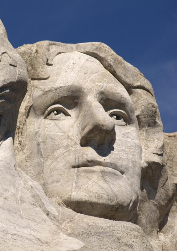Thomas Jefferson on Mount Rushmore, a form of monolith.