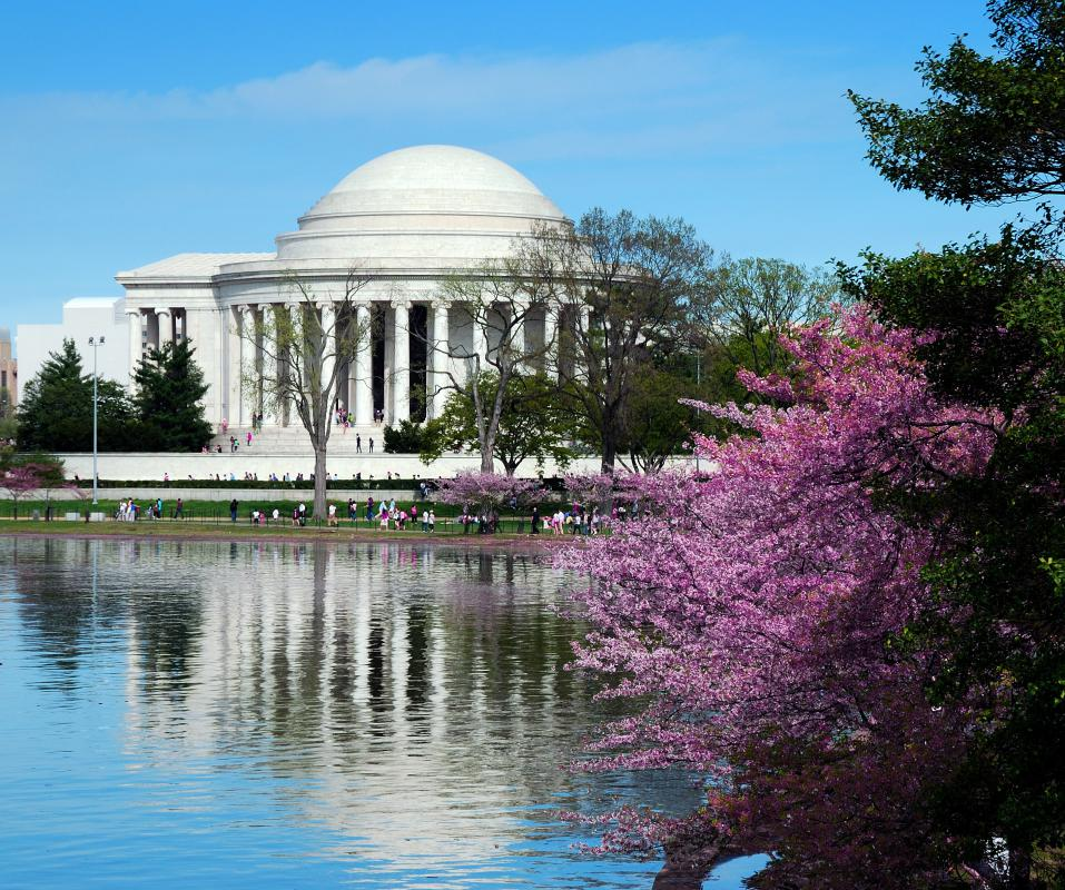 The Jefferson Memorial in Washington DC is at the southern end of the National Mall.