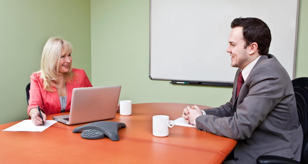 A human resources manager may conduct interviews.