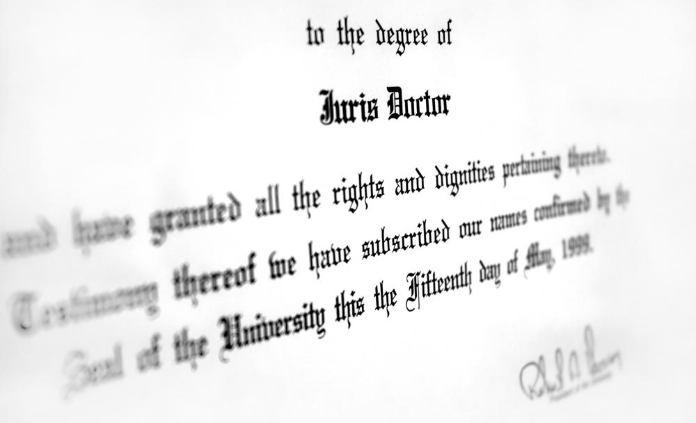 Earning a law degree is one step toward becoming licensed to practice law.